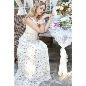 NWT Sleeveless Chiffon Floral Maxi Dress Gown